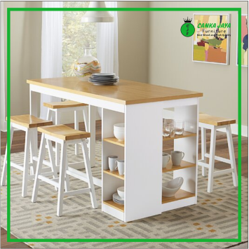 A set of low-cost 4-seat model Espanola minimalist dining table