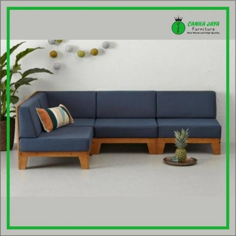 Minimalist Living Room Table Chairs Set, Teak Corner Sofa Model